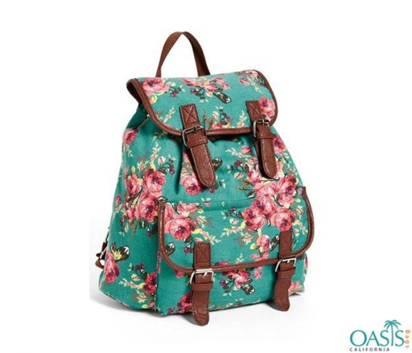 Floral Printed Backpack For Fashionable Girls Wholesale
