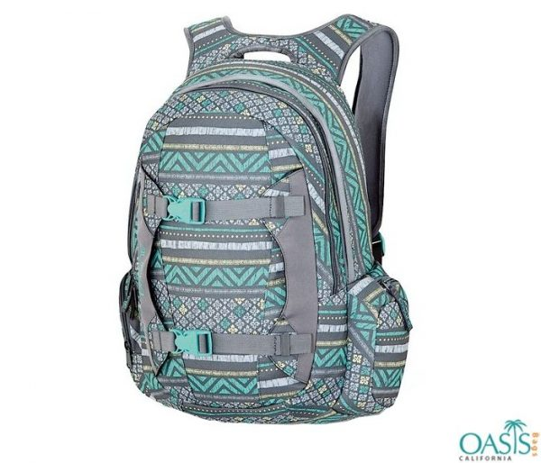 Green and Grey Printed Backpack Wholesale