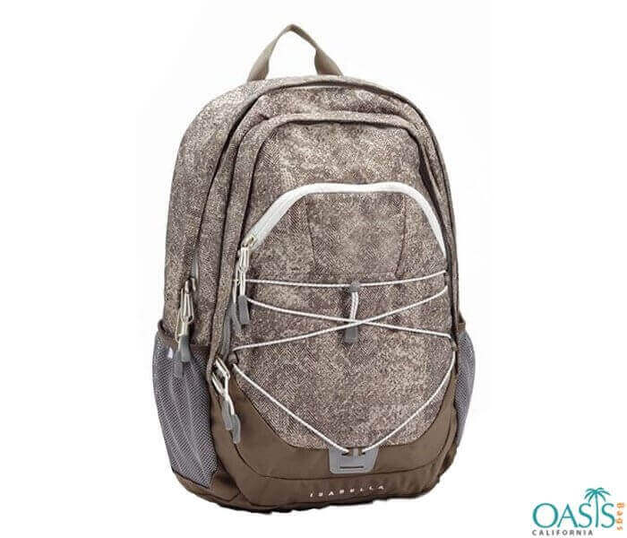 Light Brown Self Patterned Backpack Wholesale
