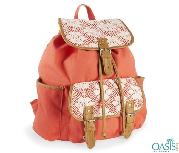 Peach Coloured Stylish Backpack for Girls Wholesale