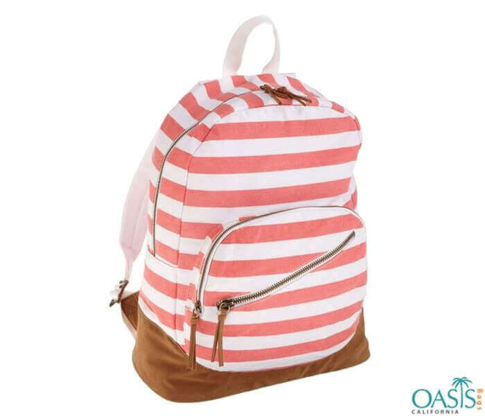 White and Pink Striped Zesty Backpack Wholesale
