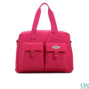 Hot Pink Front Pockets Diaper Bag Wholesale