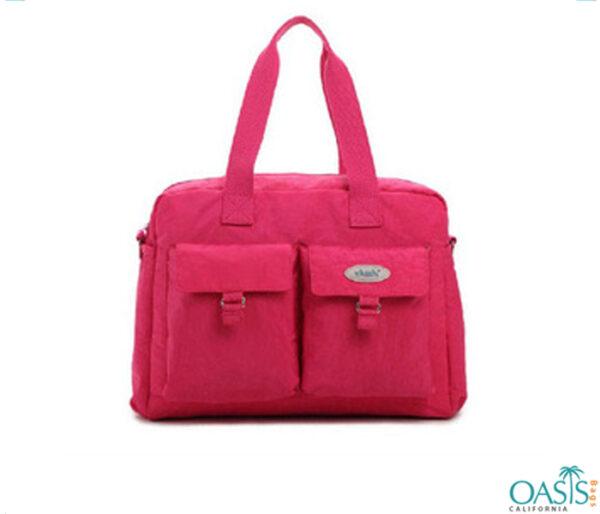 Hot Pink Front Pockets Diaper Bag Wholesale