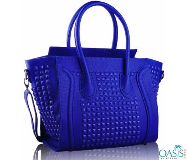 Bulk Aerofloat Blue Self Textured Ladies Bags Wholesale Supplier in USA, Australia, Canada, China