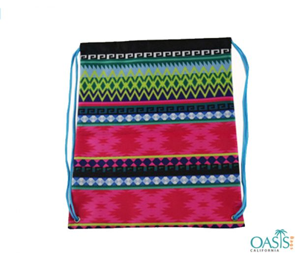 Aztec Print Cotton Drawstring Bag Wholesale