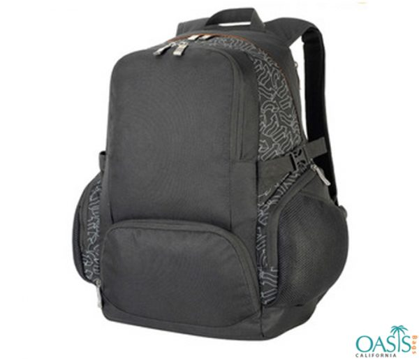 Black and Printed Grey Duffel Bag Wholesale