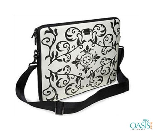 Black and White Ornamental Laptop Bag Wholesale