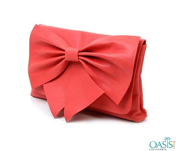 Classy Bow Coral Clutch Bag Wholesale