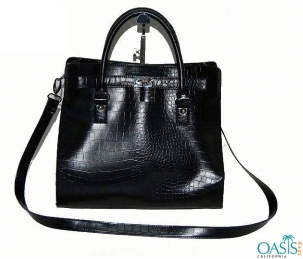 Croc Style Ladies Ebony Handbag Wholesale