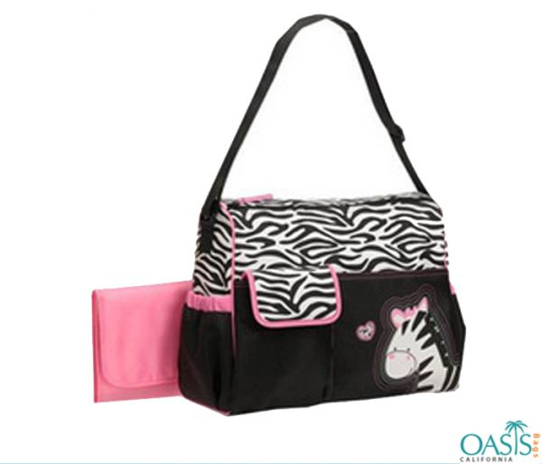 Ebony Ivory Diaper Bag with Zebra Motif Wholesale