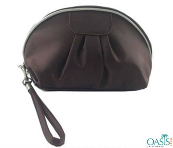 Pearly Brown Compact Cosmetic Bag Wholesale