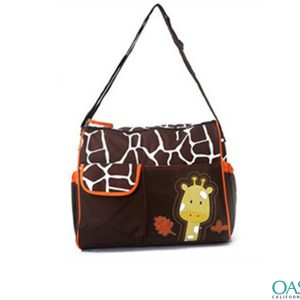 Soft Chocolate Giraffe Motif Diaper Bag Wholesale