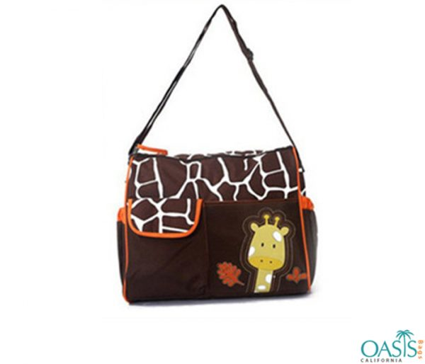 Soft Chocolate Giraffe Motif Diaper Bag Wholesale