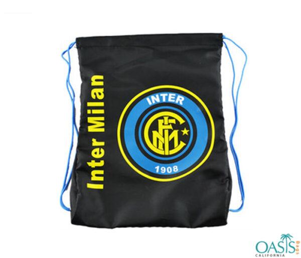 Sporty Black Drawstring Bag Wholesale