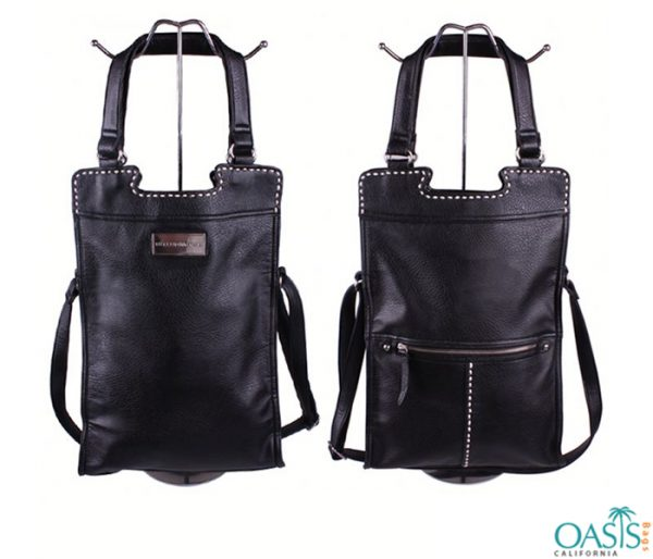 Sleek Black Leather Cross Body Hold all Bag Wholesale