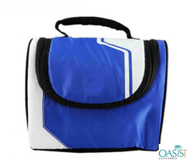 White and Blue Portable Cooler Bag Wholesale