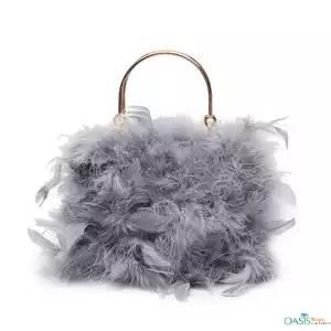 Grace Ostrich Feather Top Handle Bag
